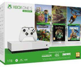 Microsoft Xbox One S 1 TB All-Digital Edition + Minecraft Xbox One Edition + Sea of Thieves + Fortnite Battle Royale